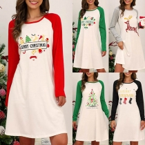 Fashion Contrast Color Long Sleeve Round Neck Printed Christmas Dress