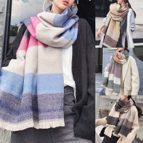 Fashion Tassel Edge Contrast Color Plaid Scarf