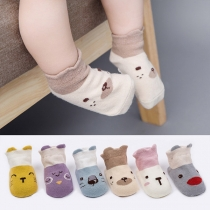 Cute Cartoon Printed Contrast Color Baby Floor Socks -2 pairs/Set