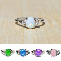 Fashion Colored Imitation Gem Inlaid Alloy Ring