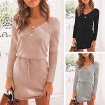 Fashion Solid Color Long Sleeve V-neck High-low Hem Dress