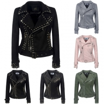 Retro Style Long Sleeve Oblique Zipper Rivets PU Leather Jacket