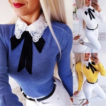 Sweet Style Embroidered POLO Collar Long Sleeve Slim Fit Top