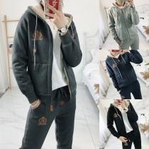 Fashion Plush Lining Hooded Sweatshirt Coat Pants Sports Suit