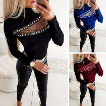 Sexy Hollow Out Gauze Spliced Long Sleeve Mock Neck Top