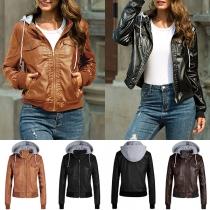 Fashion Long Sleeve Detachable Hooded Plush Lining PU Leather Jacket