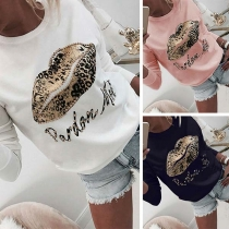 Fashion Leopard Red Printed Long Sleeve Round Neck Shirt(It falls small)