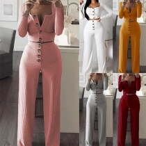 Sexy Squard Collar Crop Top + High Waist Pants Two-piece Set