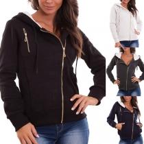 Fashion Solid Color Oblique Zipper Hooded Sweatshirt(It runs small)