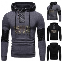 Fashion PU Leather Spliced Long Sleeve Hooded Man's Sweatshirt