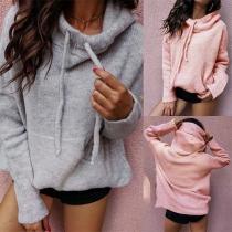 Fashion Solid Color Long Sleeve Hooded Sweatshirt