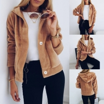 Fashion Solid Color Long Sleeve Hooded Plush Thin Coat