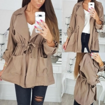 Fashion Solid Color Long Sleeve Drawstring Waist Windbreaker Coat