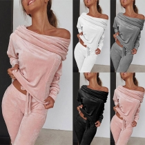 Sexy Boat Neck Long Sleeve Top + Pants Two-piece Set