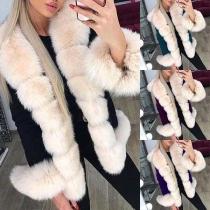Fashion Long Sleeve Faux Fur Spliced Collar Coat