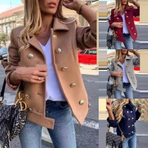 Fashion Solid Color Long Sleeve Double-breasted Woolen Coat