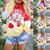 Cute Cartoon Snowman Printed Color Gradient Sweatshirt