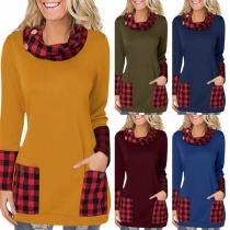 Fashion Plaid Spliced Long Sleeve Cowl Neck Sweatshirt