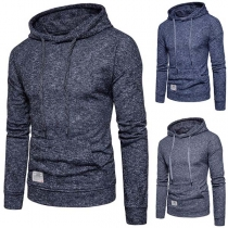 Fashion Solid Color Long Sleeve Hooded Man's Sweatshirt