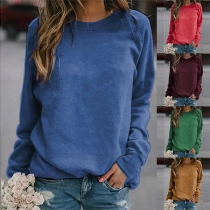 Simple Style Long Sleeve Round Neck Solid Color Sweatshirt