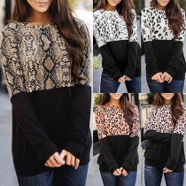 Fashion Serpentine/Leopard Spliced Long Sleeve Round Neck Top