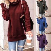 Fashion Solid Color Long Sleeve Cowl Neck Sweatshirt
