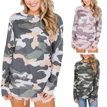 Fashion Camouflage Printed Long Sleeve Round Neck Sweatshirt