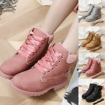 Fashion Flat Heel Round Toe Plush Lining Lace-up Snow Boots