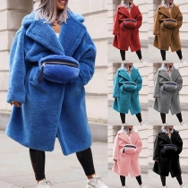 Fashion Solid Color Long Sleeve Plush Overcoat with Waist Bag