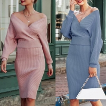 Sexy Backless V-neck Long Sleeve Knit Top + Skirt Two-piece Set