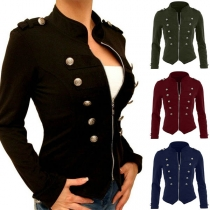 Fashion Long Sleeve Stand Collar Double-breasted Slim Fit Jacket