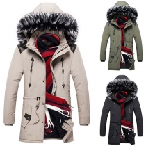 Fashion Faux Fur Spliced Hooded Drawstring Waist Man's Padded Coat