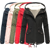 Fashion Solid Color Plush Lining Drawstring Waist Hooded Padded Coat