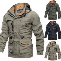 Fashion Letters Printed Long Sleeve Hooded Windbreaker Outdoor Man's Jacket