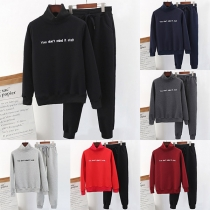 Fashion Plush Lining Stand Collar Sweatshirt + Pants Sports Suit