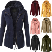 Fashion Solid Color Drawstring Waist Hooded Jacket