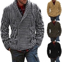 Fashion Solid Color Double-breasted Man's Sweater Coat