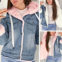 Fashion Long Sleeve Hooded Faux Cashmere Lining Denim Coat