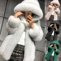 Fashion Solid Color Long Sleeve Hooded Faux Fur Coat