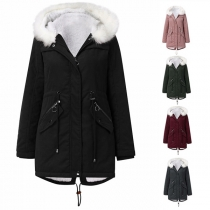 Fashion Faux Fur Spliced Hooded Silhouette Plush Lining Padded Coat