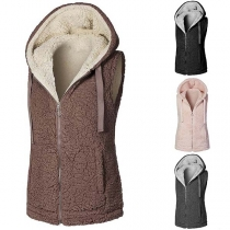Fashion Solid Color Hooded Plush Vest