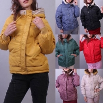 Fashion Solid Color Long Sleeve Hooded Padded Coat