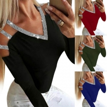 Sexy Off-shoulder Long Sleeve V-neck Sequin Spliced T-shirt