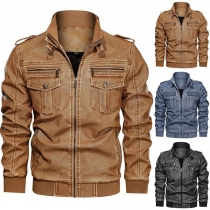 Retro Style Long Sleeve Stand Collar Man's PU Leather Jacket