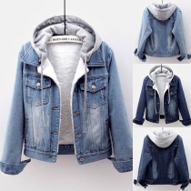Fashion Long Sleeve Detachable Hooded Plush Lining Denim Coat(The size falls small)