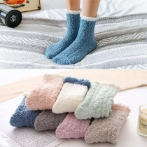 Fashion Contrast Color Warm Plush Socks 2 pairs/set