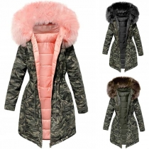 Fashion Camouflage Printed Faux Fur Spliced Hooded Padded Coat
