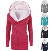 Fashion Solid Color Oblique Zipper Plush Lining Hooded Coat