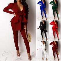 OL Style Ruffle Blazer + High Waist Pants Two-piece Set