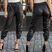 Hip-hop Style Solid Color Elastic Waist PU Leather Pants